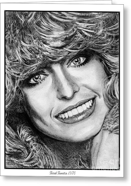 Fame Drawings Greeting Cards - Farrah Fawcett in 1976 Greeting Card by J McCombie