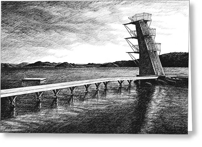 Farsund Diving Board Greeting Cards - Farsund Badehuset in Ink Greeting Card by Janet King