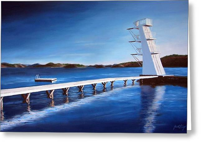 Farsund Diving Board Greeting Cards - Farsund Badehuset on a sunny day Greeting Card by Janet King