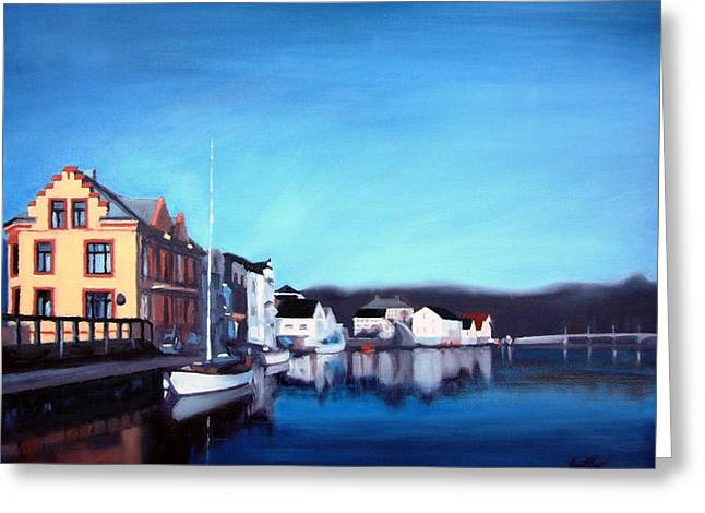 Buildings Along The Dock Greeting Cards - Farsund Dock Scene I Greeting Card by Janet King