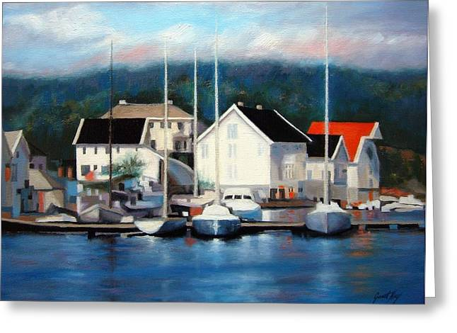 Buildings By The Ocean Greeting Cards - Farsund Dock Scene Painting Greeting Card by Janet King
