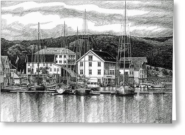 Boats At Dock Greeting Cards - Farsund Dock Scene Pen and Ink Greeting Card by Janet King