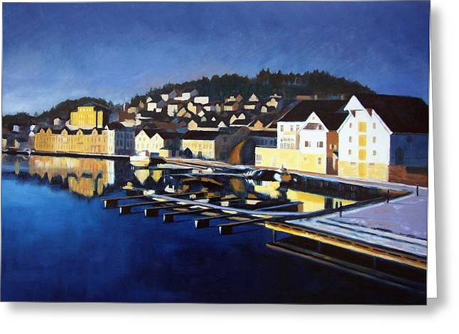 Best Sellers -  - Sailboats At The Dock Greeting Cards - Farsund in Winter Greeting Card by Janet King