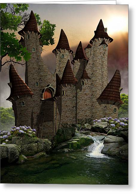 Moat Mountain Greeting Cards - Farytale Castle Greeting Card by Suzanne Amberson
