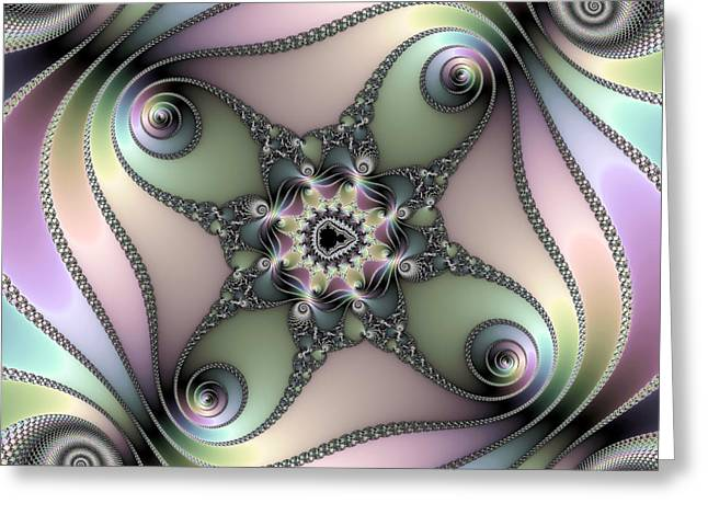 Fascinating Fractal Spirals Beautiful Metallic Colors Greeting Card by Matthias Hauser
