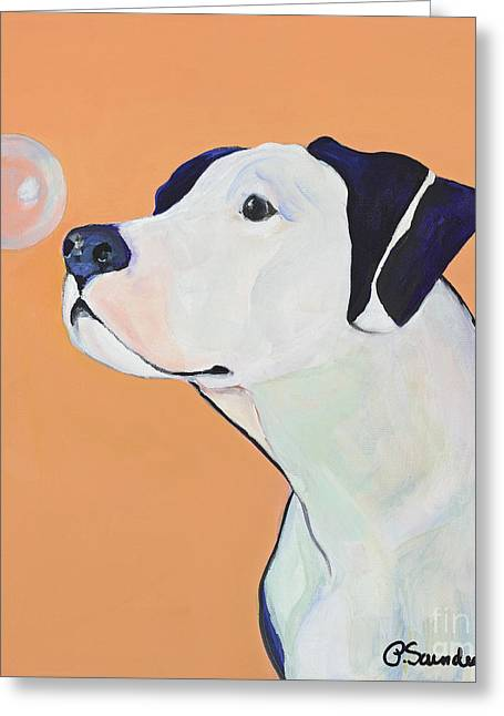 Dog At Play Greeting Cards - Fascination Greeting Card by Pat Saunders-White