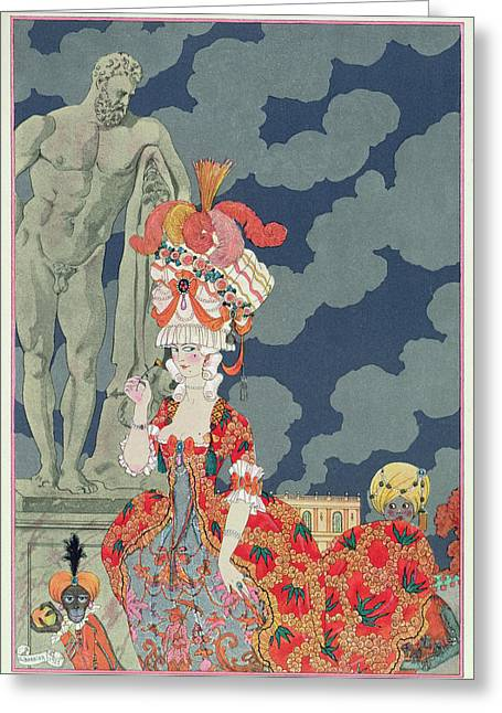 Sculpture Paintings Greeting Cards - Fashion at its Highest Greeting Card by Georges Barbier
