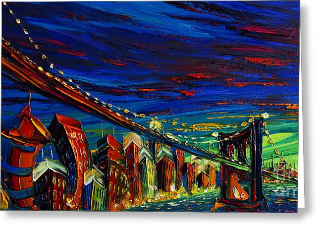 City Skylines Framed Prints Greeting Cards - New York Greeting Card by Willson Lau