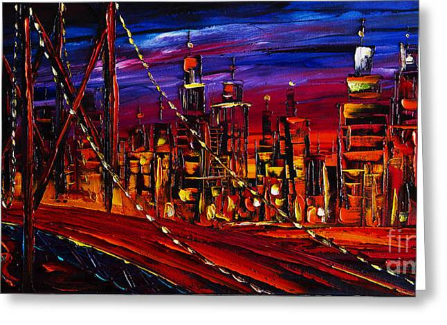 Print On Canvas Greeting Cards - Cityscape Greeting Card by Willson Lau
