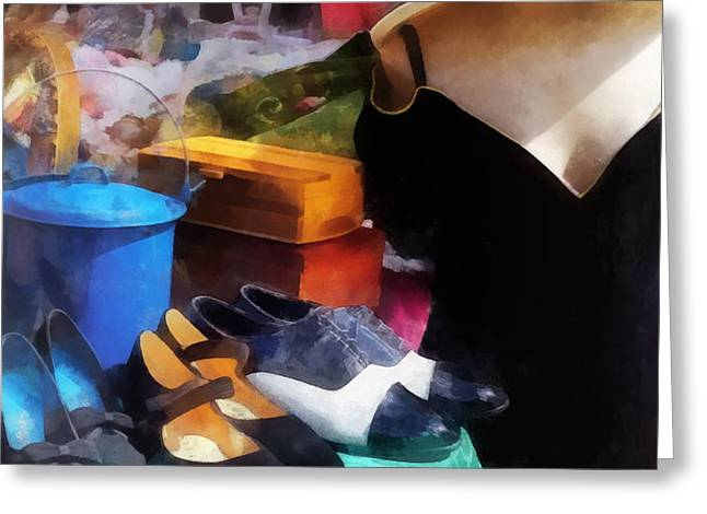 Fashion - Clothing For Sale at Flea Market Greeting Card by Susan Savad