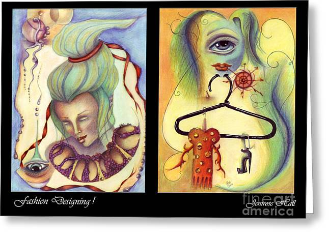 Rosyhall Greeting Cards - Fashion Designing Diptych Greeting Card by Rosy Hall