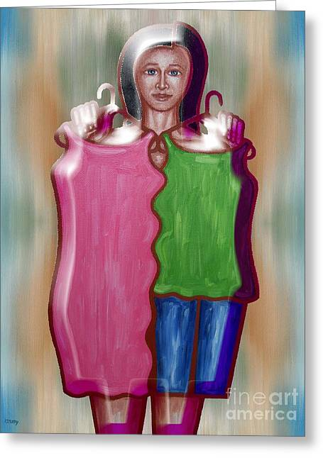 T Shirts Mixed Media Greeting Cards - Fashion Dilemma Greeting Card by Patrick J Murphy