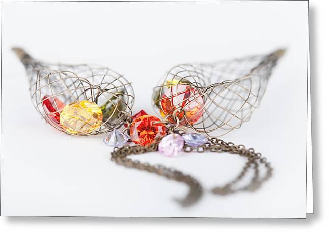 Gold Earrings Digital Art Greeting Cards - Fashion earrings Background Greeting Card by Modern Art Prints
