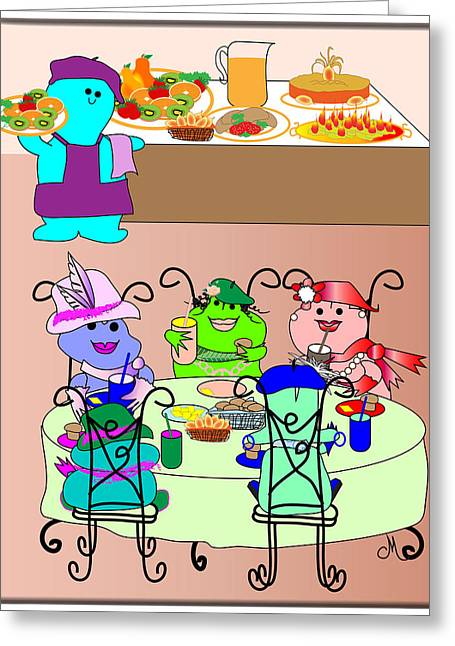 Huckleberry Digital Art Greeting Cards - Fashion Frogs Dining Out Greeting Card by Chris Morningforest
