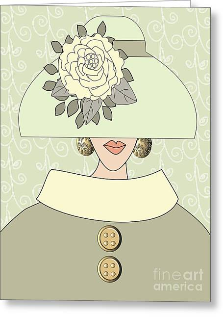 Green Swirl Hat Greeting Cards - Fashion hat with peony flower Greeting Card by Mira Dimitrijevic