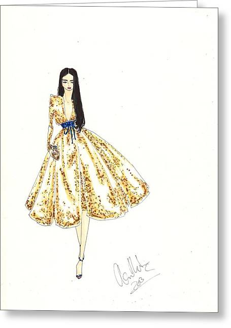 Sequin Drawings Greeting Cards - Fashion Illustration Gold Sequin Dress Greeting Card by Alex Newton