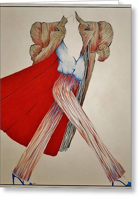 Prisma Colored Pencil Greeting Cards - Fashion Illustration Greeting Card by Joy Bradley