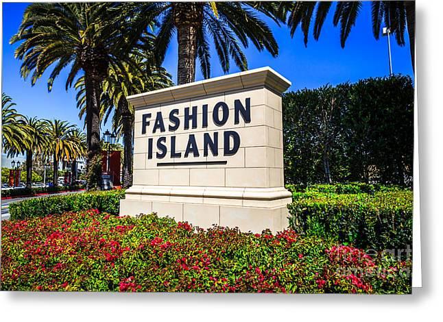 Fashion Island Sign in Newport Beach California Greeting Card by Paul Velgos