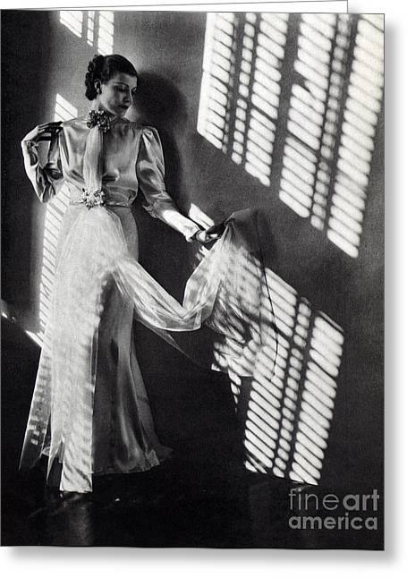 Venetian Blinds Greeting Cards - Fashion Model, 1937 Greeting Card by Science Source