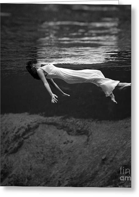 Evening Gowns Greeting Cards - Fashion Model Floating In Water, 1947 Greeting Card by Science Source