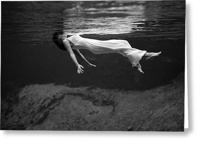 Fashion Model Floating In Water, 1947 Greeting Card by Science Source