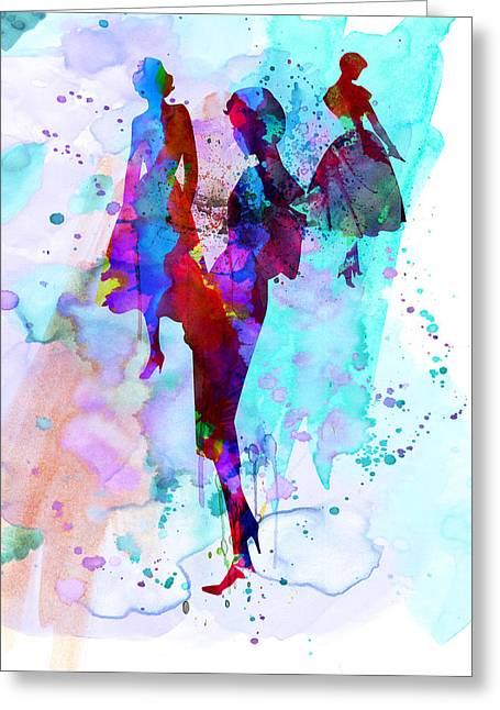 Supermodels Greeting Cards - Fashion Models 7 Greeting Card by Naxart Studio