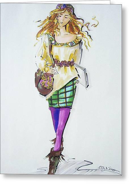 Belt Drawings Greeting Cards - Fashion on the Run Greeting Card by Gloria  Nilsson