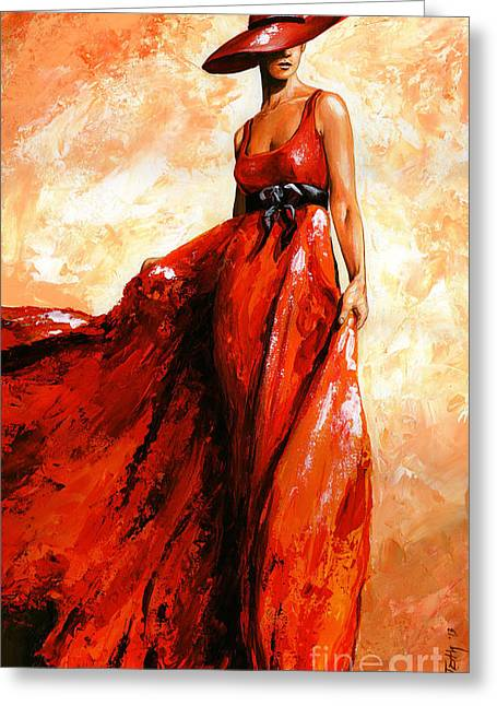 Fashion Portraits Greeting Cards - Fashion red Greeting Card by Emerico Imre Toth