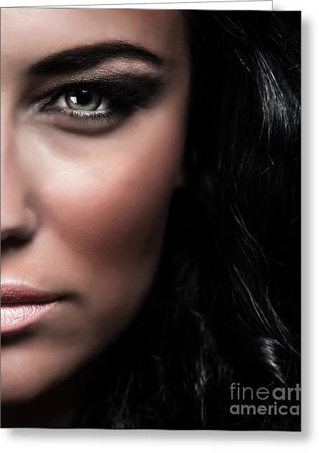 Supermodels Greeting Cards - Fashionable female portrait Greeting Card by Anna Omelchenko