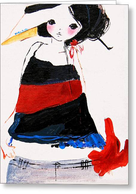 Outfit Paintings Greeting Cards - Fashionable Girl In Cute Outfit Greeting Card by Unknown