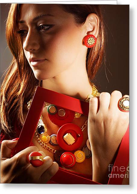 Gold Earrings Greeting Cards - Fashionable girl portrait Greeting Card by Anna Omelchenko