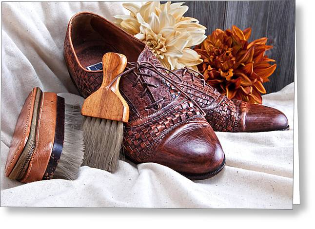 Bristles Greeting Cards - Fashionable Italian Shoes Still Life Greeting Card by Tom Mc Nemar