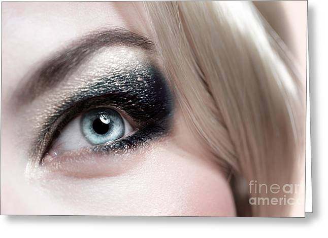 Eyebrow Greeting Cards - Fashionable makeup Greeting Card by Anna Omelchenko