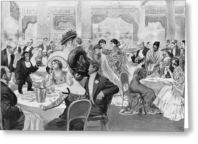 Paris At Night Greeting Cards - Fashionable suppers Greeting Card by Georges Bertin Scott