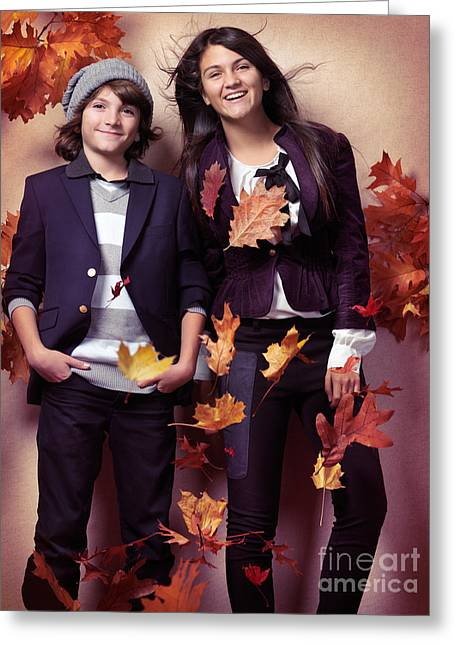 Outfit Greeting Cards - Fashionably dressed boy and teenage girl fall fashion Greeting Card by Oleksiy Maksymenko