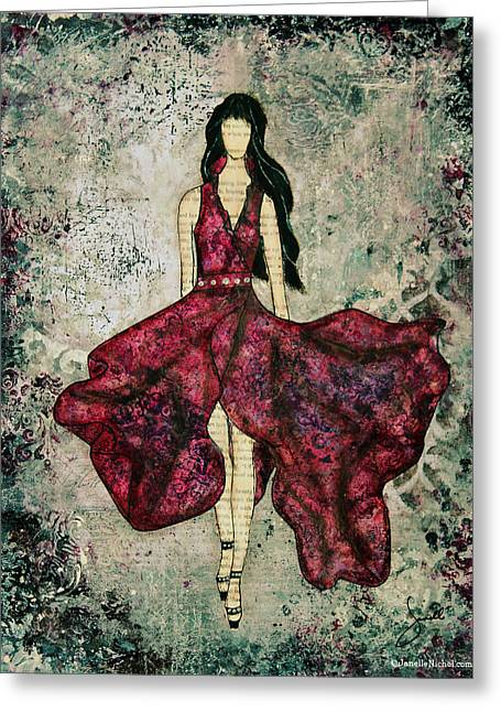 Black Dress Greeting Cards - Fashionista Mixed Media painting by Janelle Nichol Greeting Card by Janelle Nichol