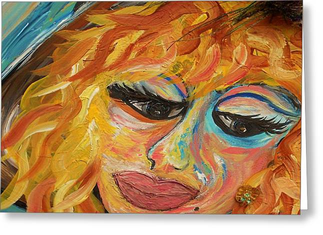 Lips Greeting Cards - Fashionista - Mysterious Red Head Greeting Card by Eloise Schneider