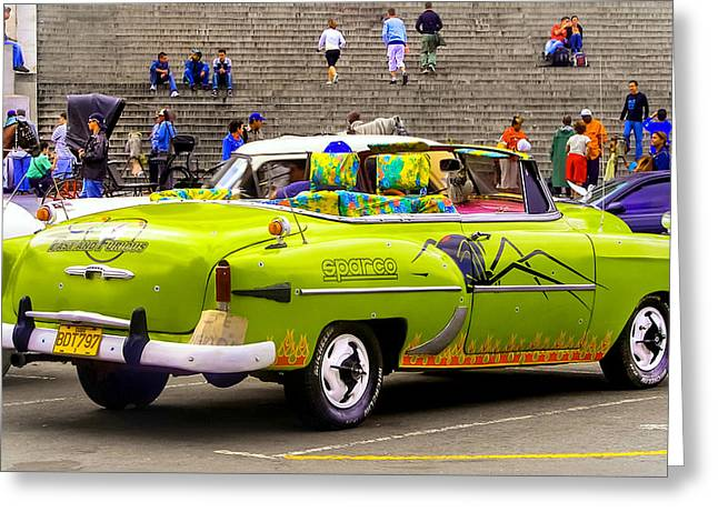Furious Greeting Cards - FAST and FURIOUS in CUBA Greeting Card by Karen Wiles