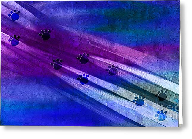 Cat Paw Print Greeting Cards - Fast Cats Superhighway - Abstract - Digital Painting Greeting Card by Andee Design