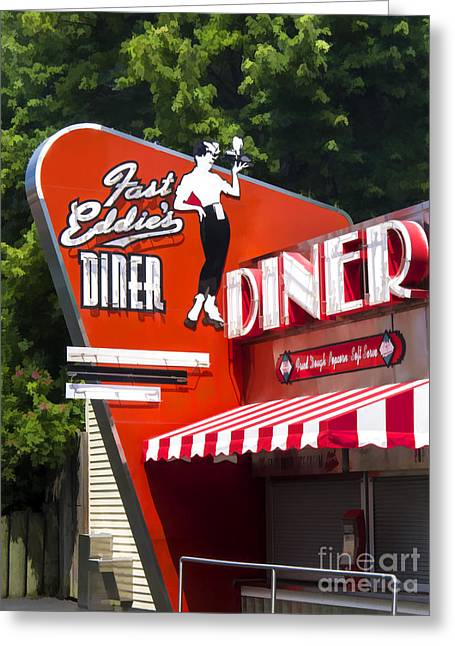 Diner Greeting Cards - Fast Eddies Diner Art Deco Fifties Greeting Card by Edward Fielding