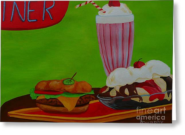Cheeseburger Paintings Greeting Cards - Fast Food Greeting Card by Anthony Dunphy
