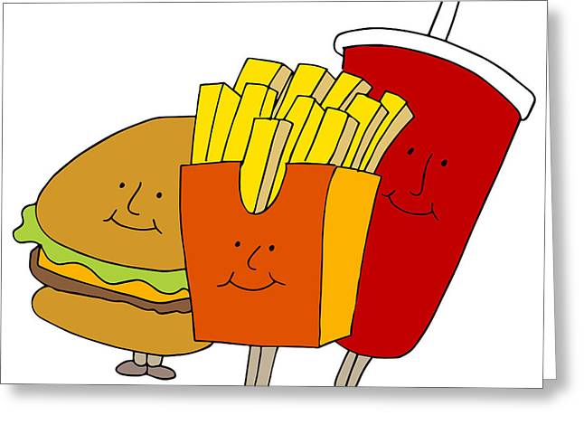 French Fries Digital Greeting Cards - Fast Food Characters Greeting Card by John Takai