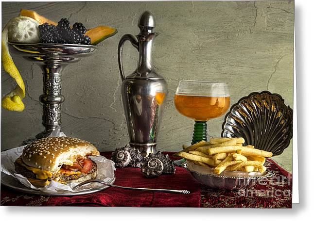 Cheeseburger Greeting Cards - Fast Food Greeting Card by Elena Nosyreva