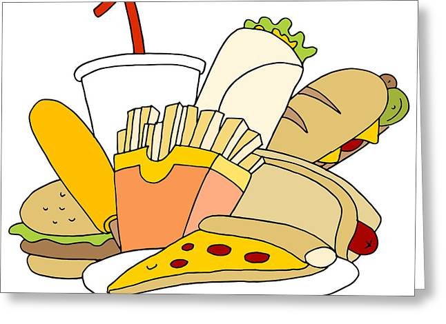 French Fries Digital Greeting Cards - Fast Food Item Set Greeting Card by John Takai