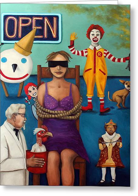 Jack-in-the-box Greeting Cards - Fast Food Nightmare 3 Greeting Card by Leah Saulnier The Painting Maniac