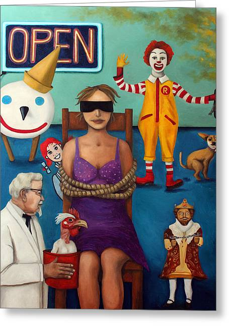 Fast Food Nightmare 3 Greeting Card by Leah Saulnier The Painting Maniac