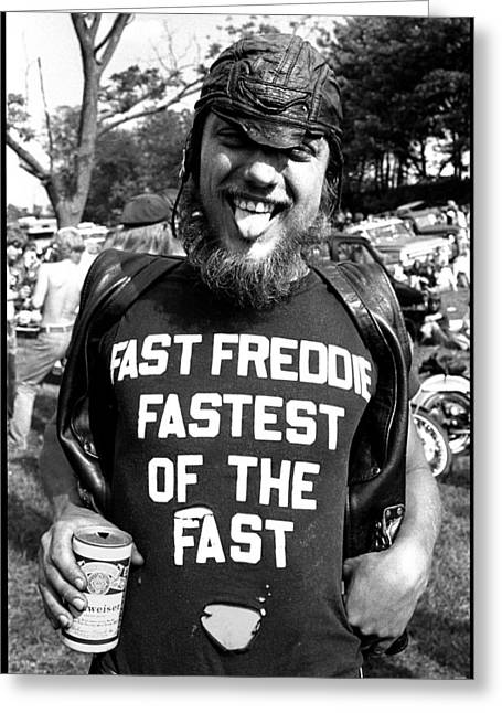 Biker Greeting Cards - Fast Freddie Fastest Of The Fast Greeting Card by Doug Barber