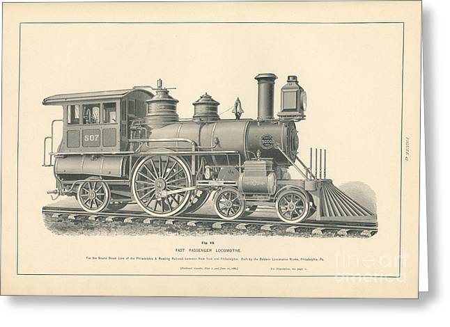 Fast Passenger Locomotive Fig. 43 Greeting Card by MMG Archive Prints