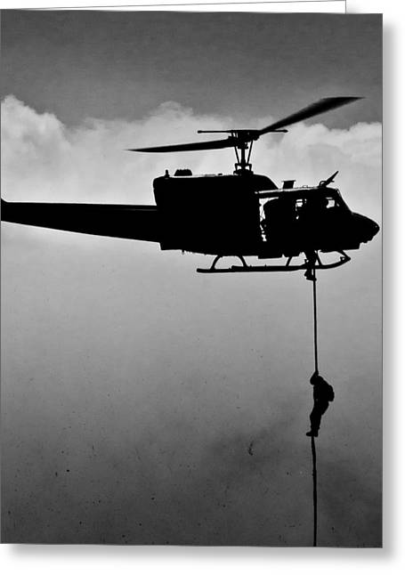 Rappel Greeting Cards - Fast Rope from Huey Greeting Card by Alex Snay
