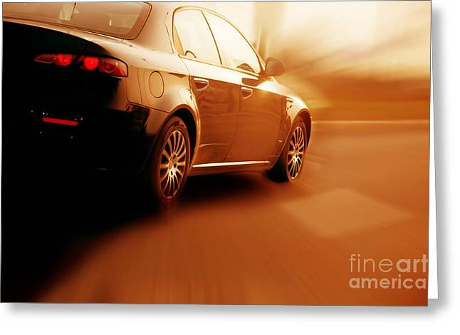 Highway Lights Greeting Cards - Fast sport car Greeting Card by Michal Bednarek